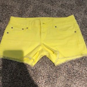 Yellow jean shorts